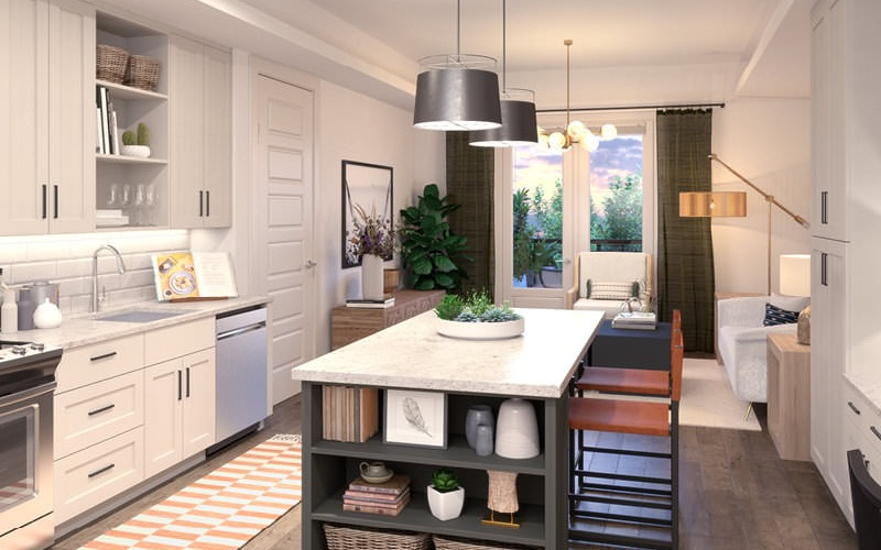 well lit kitchen with island counter seating