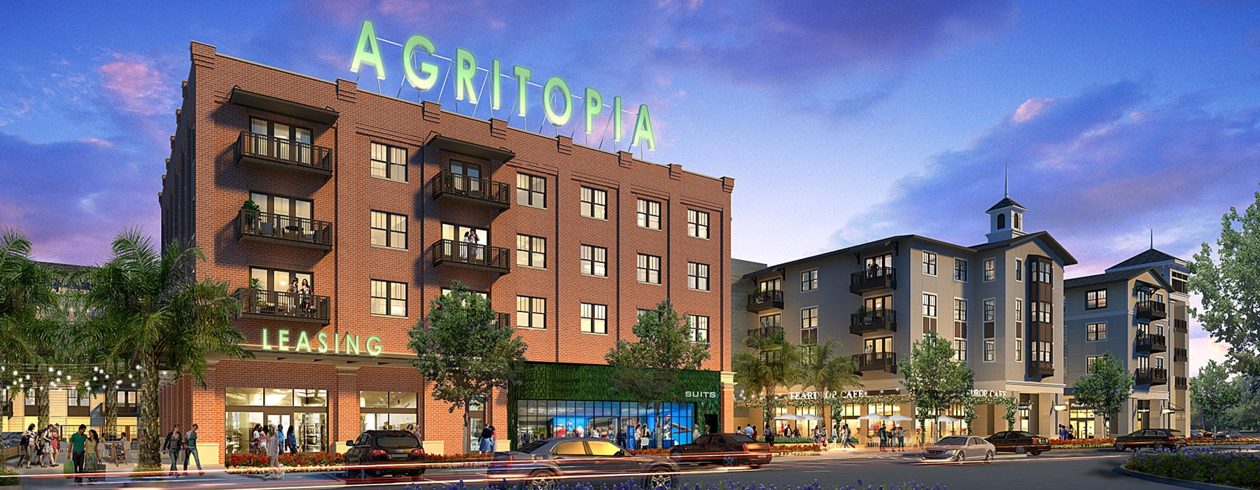 rendering of Agritopia facade and leasing center