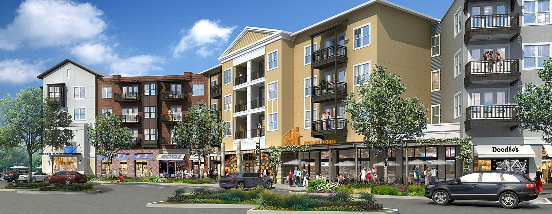 Epicenter rendering which includes 14 local retailers